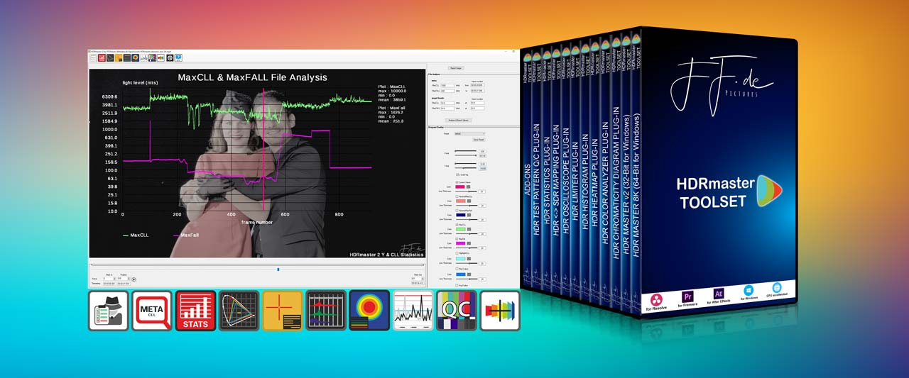 HDRmaster Toolset: Standalone Software and Plug-ins related to HDR video production and quality analysis.