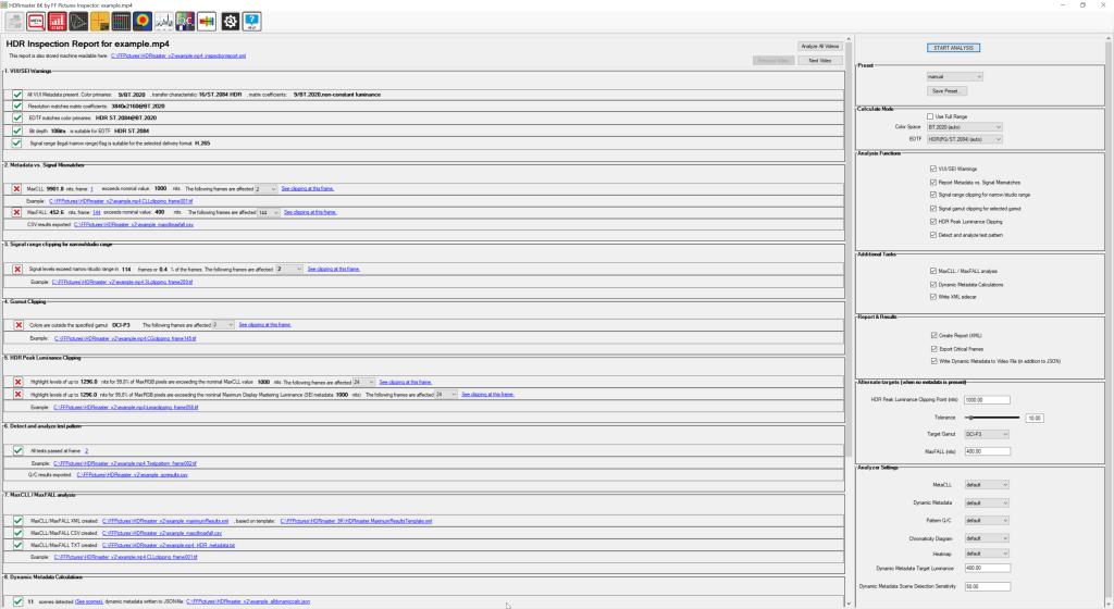 HDR Inspector:Beispiel eines automatisiert erstellten Prüfreportsnach der Durchführung einer genauen Analyse mit HDRmaster 8K.