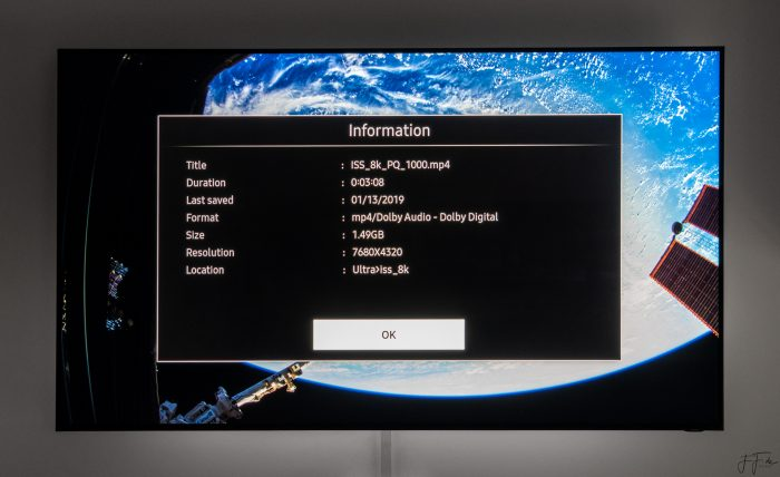 8K-playback of the color graded HDR video on the Samsung Q900 (75 inch model). The bias light behind the TV is a Medialight Eclipse (D65 neutral white).