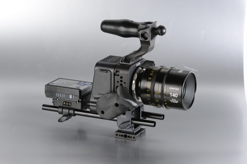 This is what a rigged ALPA Platon system may look like. As with all professional camera systems for motion picture, there are a lot of options on how to attach additional elements such as preview monitors, focus gear, alternate power sources and more.